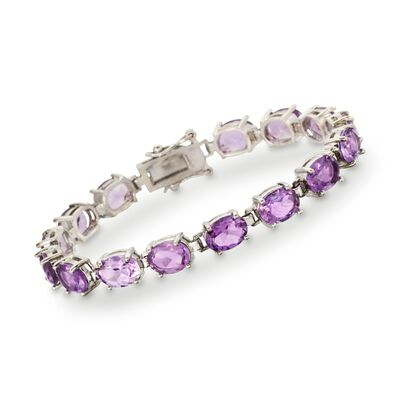 14.00 ct. t.w. Amethyst Bracelet in Sterling Silver, , default
