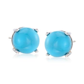 8mm Turquoise Stud Earrings in Sterling Silver, , default