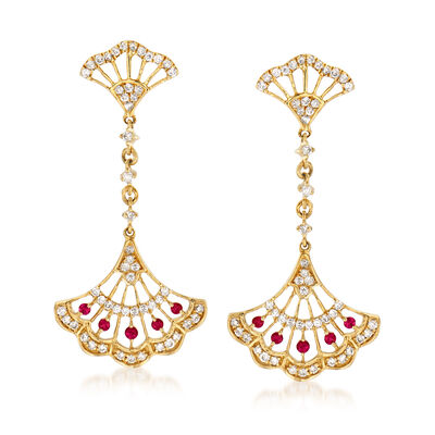 .50 ct. t.w. Diamond and .10 ct. t.w. Ruby Fan Drop Earrings in 14kt Yellow Gold