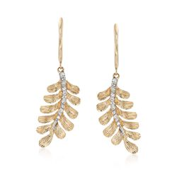 .12 ct. t.w. Diamond Leaf Earrings in 14kt Yellow Gold Drop Earrings, , default