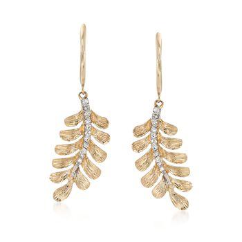 .12 ct. t.w. Diamond Leaf Earrings in 14kt Yellow Gold Drop Earrings, , default