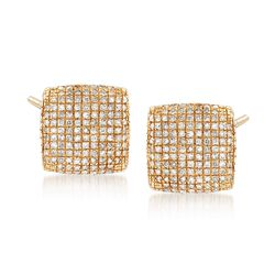 .35 ct. t.w. Pave Diamond Square Earrings in 14kt Yellow Gold , , default