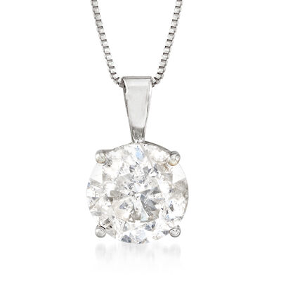2.00 Carat Diamond Solitaire Necklace in 14kt White Gold, , default