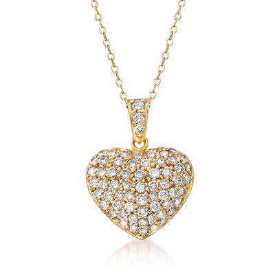 C. 1980 Vintage 2.00 ct. t.w. Pave Diamond Heart Pendant Necklace in 18kt Yellow Gold, , default