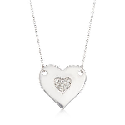 .10 ct. t.w. Diamond Heart Necklace in Sterling Silver, , default