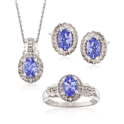 2.50 ct. t.w. Tanzanite and .10 ct. t.w. White Topaz Jewelry Set: Necklace, Earrings and Ring in Sterling Silver, , default