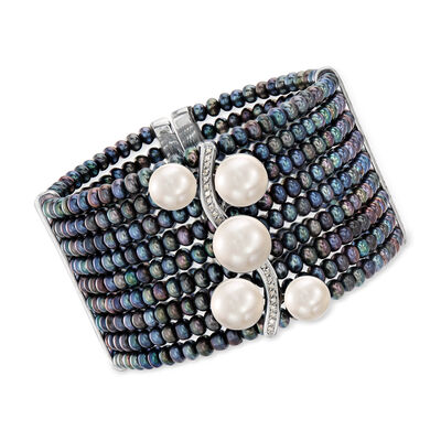 4-11.5mm Black and White Cultured Pearl and .18 ct. t.w. Diamond Cuff Bracelet in Sterling Silver, , default