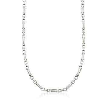 """C. 2000 Vintage Men's Platinum Block Link Chain Necklace. 23"""", , default"""