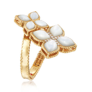 """Roberto Coin """"Venetian Princess"""" Mother-Of-Pearl Bypass Ring with Diamond Accents in 18kt Gold, , default"""