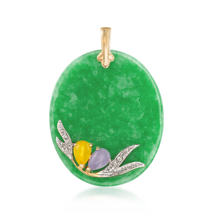 Multicolored Jade Pendant with 14kt Yellow Gold and Diamond Accents