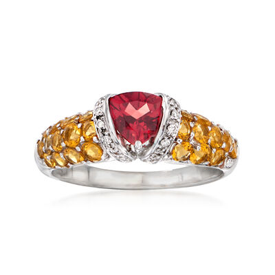 C. 1990 Vintage .90 Carat Garnet, 1.30 ct. t.w. Citrine and .15 ct. t.w. Diamond Ring in 14kt White Gold