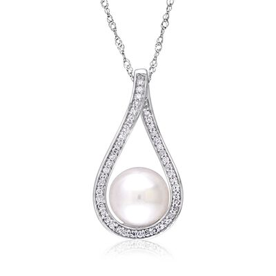 9-9.5mm Cultured Pearl and .18 ct. t.w. Diamond Teardrop Pendant Necklace in 14kt White Gold, , default