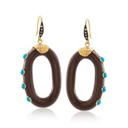 Wood and Blue Howlite Drop Hoop Earrings With White Topaz in 18kt Gold Over Sterling, , default