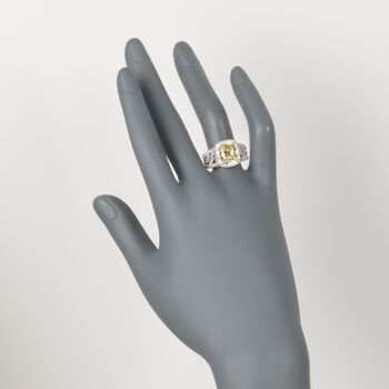 3.97 ct. t.w. Yellow and White CZ Floral Ring in Sterling Silver, , default