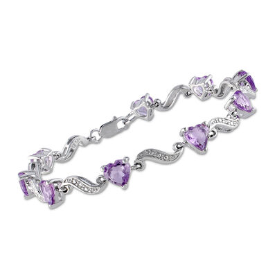 4.90 ct. t.w. Amethyst Heart Bracelet with Diamond Accents in Sterling Silver