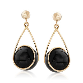 Black Onyx Swirl Drop Earrings in 14kt Yellow Gold, , default