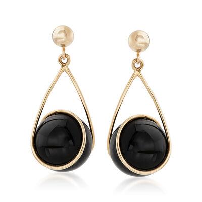 Black Onyx Swirl Drop Earrings in 14kt Yellow Gold, , default