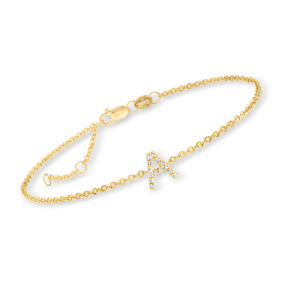 Diamond-Accented Single-Initial Bracelet in 18kt Gold Over Sterling