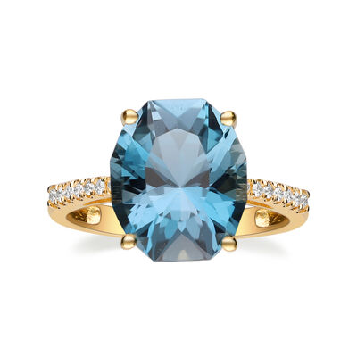 6.75 Carat London Blue Topaz and .12 ct. t.w. Diamond Ring in 14kt Yellow Gold