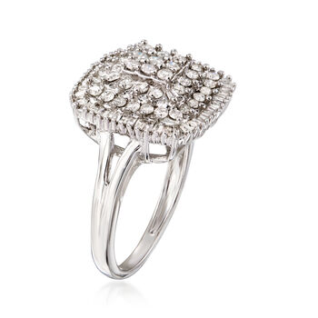 1.00 ct. t.w. Round and Baguette Diamond Ring in Sterling Silver. Size 6, , default