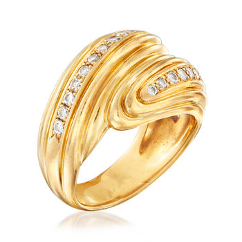 C. 1980 Vintage .60 ct. t.w. Diamond Bypass Ring in 18kt Yellow Gold. Size 6.5, , default