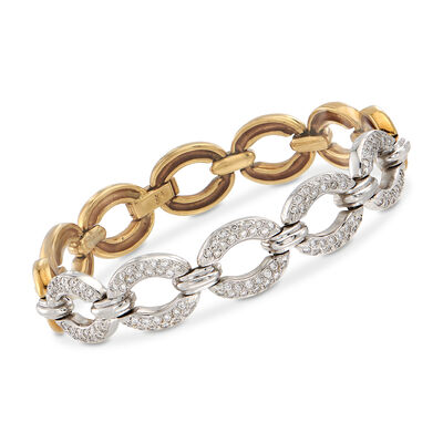 C. 1990 Vintage 1.50 ct. t.w. Diamond Oval-Link Bracelet in 18kt Two-Tone Gold