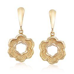 Italian 14kt Yellow Gold Flower Drop Earrings, , default