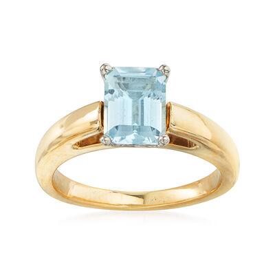 C. 2000 Vintage 1.35 Carat Aquamarine Ring in 14kt Yellow Gold, , default