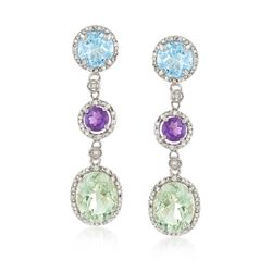 8.60 ct. t.w. Multi-Stone and .10 ct. t.w. Diamond Drop Earrings in Sterling Silver, , default