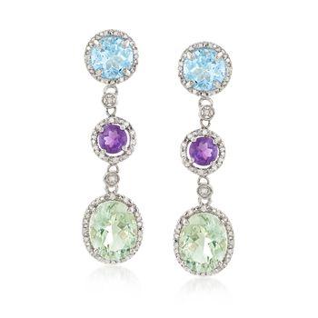 8.60 ct. t.w. Multi-Stone and .10 ct. t.w. Diamond Drop Earrings in Sterling Silver, , default