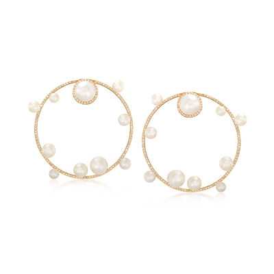 4-8.5mm Cultured Pearl and 1.05 ct. t.w. Diamond Circle Drop Earrings, , default