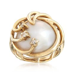 C. 1980 Vintage 12mm Cultured Mabe Pearl Ring With Diamond Accents in 14kt Yellow Gold. Size 4.75, , default