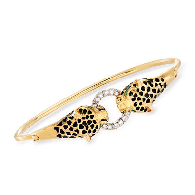 C. 1990 Vintage .25 ct. t.w. Diamond and Enamel Panther Bangle in 14kt Two-Tone Gold, , default