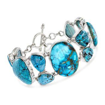 "Turquoise Toggle Bracelet in Sterling Silver. 7.25"", , default"