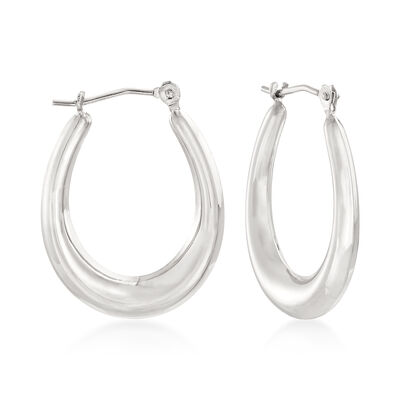 Italian 14kt White Gold Oval Hoop Earrings , , default