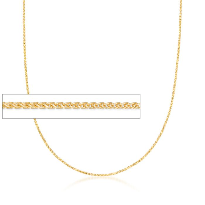 1mm 14kt Yellow Gold Wheat Chain Necklace, , default