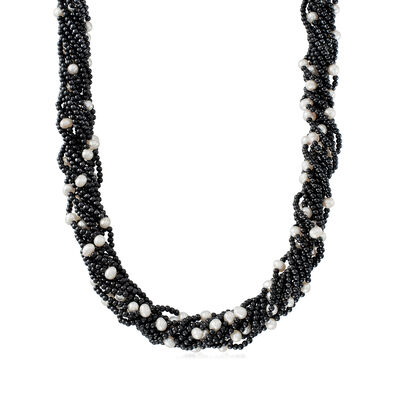 5-7.5mm Cultured Pearl and Black Onyx Torsade Necklace in Sterling Silver
