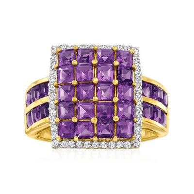 4.10 ct. t.w. Amethyst Square-Top Ring with .30 ct. t.w. White Zircon in 18kt Gold Over Sterling