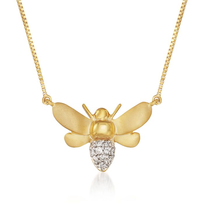 .10 ct. t.w. Diamond Bee Necklace in 14kt Gold Over Sterling
