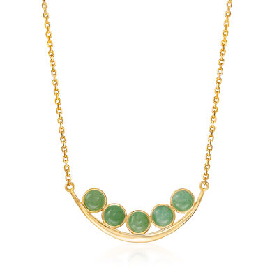 Green Aventurine Curved Bar Necklace in 18kt Gold Over Sterling