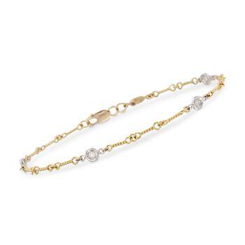 "Roberto Coin .16 ct. t.w. Bezel-Set Diamond Link Bracelet in 18kt Two-Tone Gold. 7"", , default"