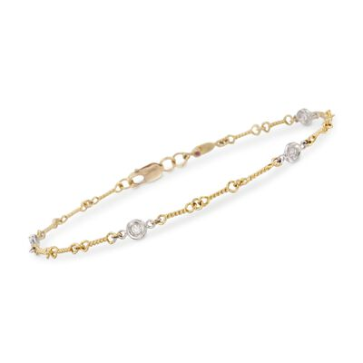 Roberto Coin .16 ct. t.w. Bezel-Set Diamond Link Bracelet in 18kt Two-Tone Gold, , default