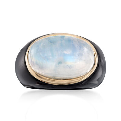 Moonstone and Black Agate Ring in 14kt Yellow Gold