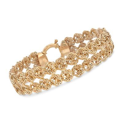 14kt Yellow Gold Two-Row Rosette Bracelet, , default