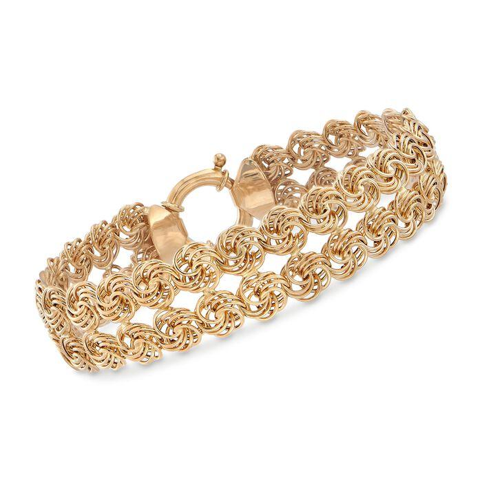 "14kt Yellow Gold Two-Row Rosette Bracelet. 8"", , default"