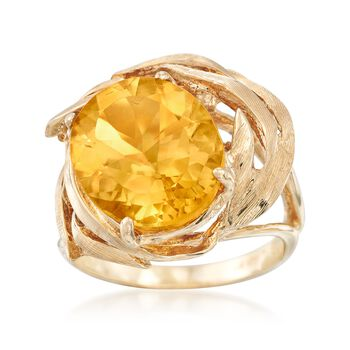 C. 1970 Vintage 4.90 Carat Oval Citrine Swirl Ring in 14kt Yellow Gold. Size 4.75, , default