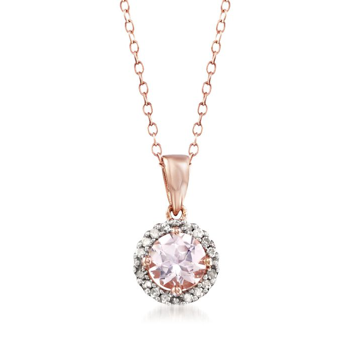 .80 Carat Morganite Halo Pendant Necklace with Diamond Accents in 14kt Rose Gold Over Sterling. 18""