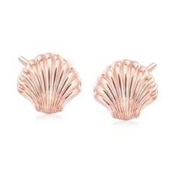 14kt Rose Gold Scalloped Seashell Earrings, , default