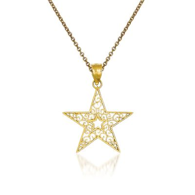 14kt Yellow Gold Star Pendant Necklace, , default