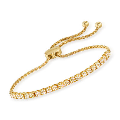 .50 ct. t.w. Diamond Cluster Bolo Bracelet in 18kt Gold Over Sterling